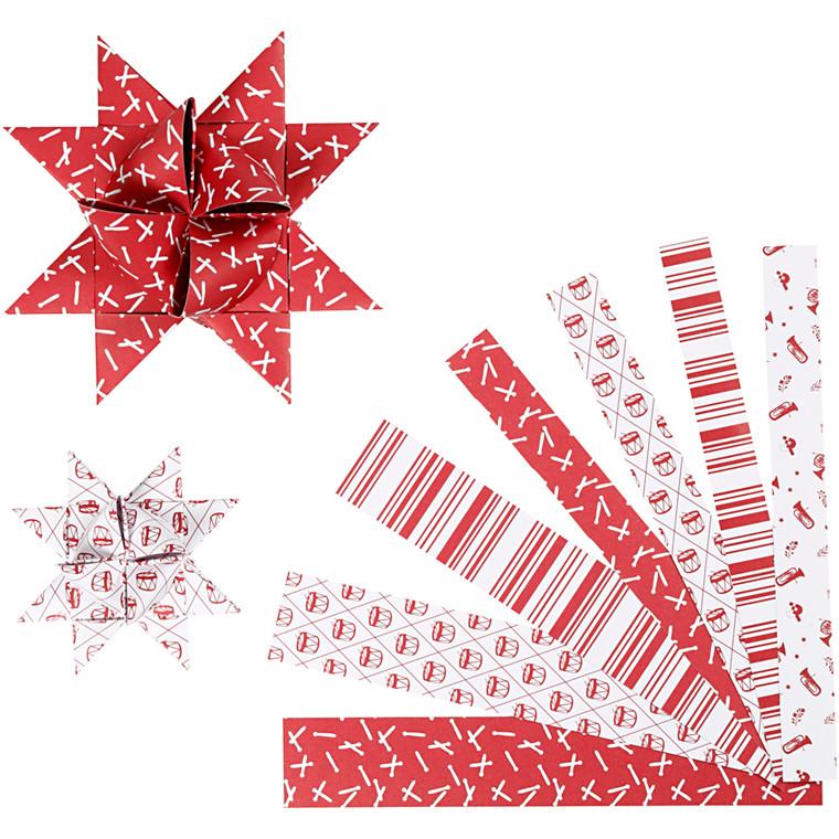 Stjernestrimler, B: 15+25 mm, diam. 6,5+11,5 cm, hvid, rød, classic, 60strimler, L: 44+78 cm