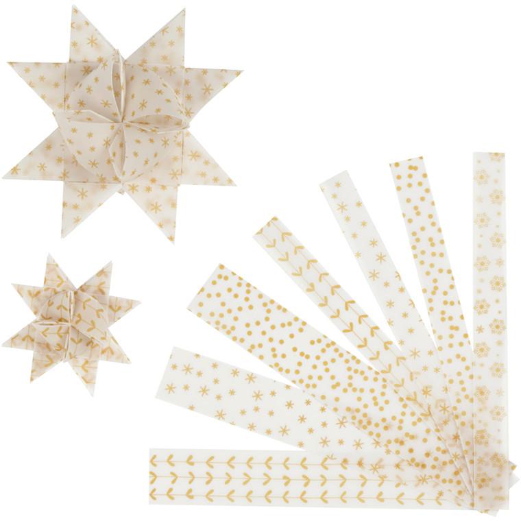 Stjernestrimler hvid guld vellum Bredde 15 + 25 mm diameter 6,5 + 11,5 cm Længde 44 + 86 cm - 48 stk