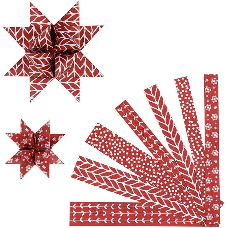 Stjernestrimler Vivi Gade classic rød hvid B: 15 + 25 mm diameter 6,5 + 11,5 cm L: 44 + 86 cm - 60 stk