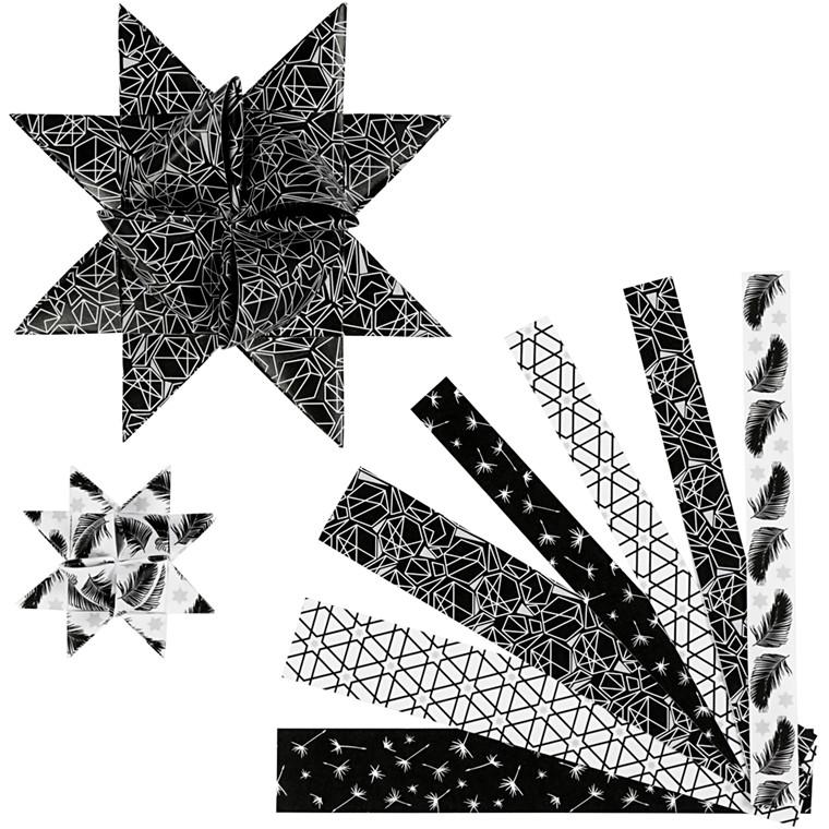 Stjernestrimler Vivi Gade sølv sort metalfolie B: 15 + 25 mm diameter 6,5 + 11,5 cm L: 44 + 86 cm - 48 stk