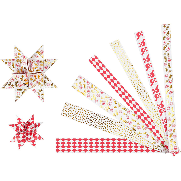 Stjernestrimler Vivi Gade metalfolie Bredde 15 x 25 mm diameter 6,5 + 11,5 cm Længde 44 + 78 cm - 48 stk
