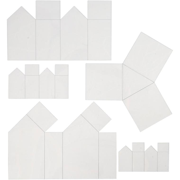 Støbeforme Højde 6-14,5 cm tykkelse 0,5 mm transparent huse og trekant | 5 stk.