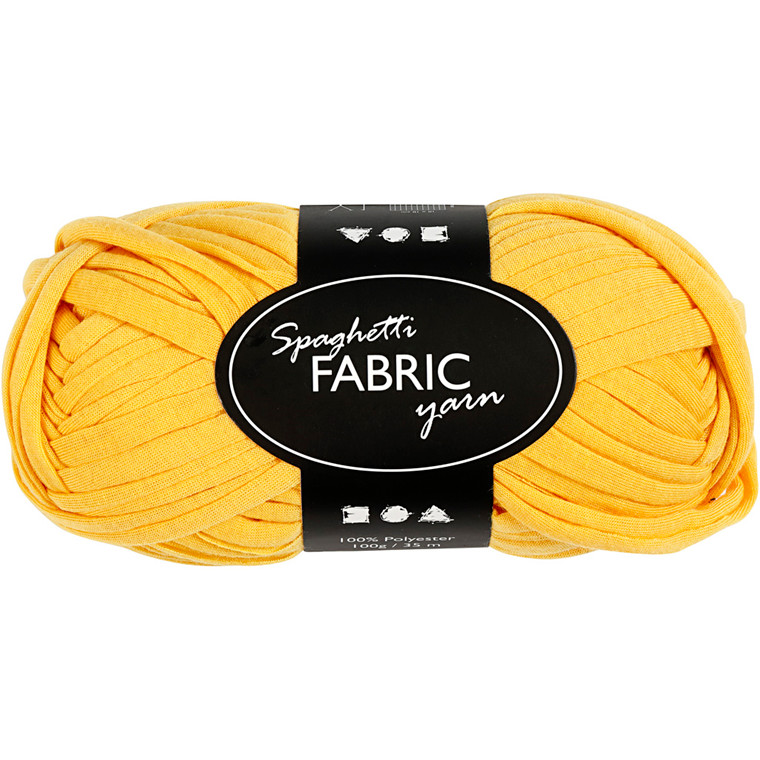 Spaghetti garn, L: 35 m, gul, 100g