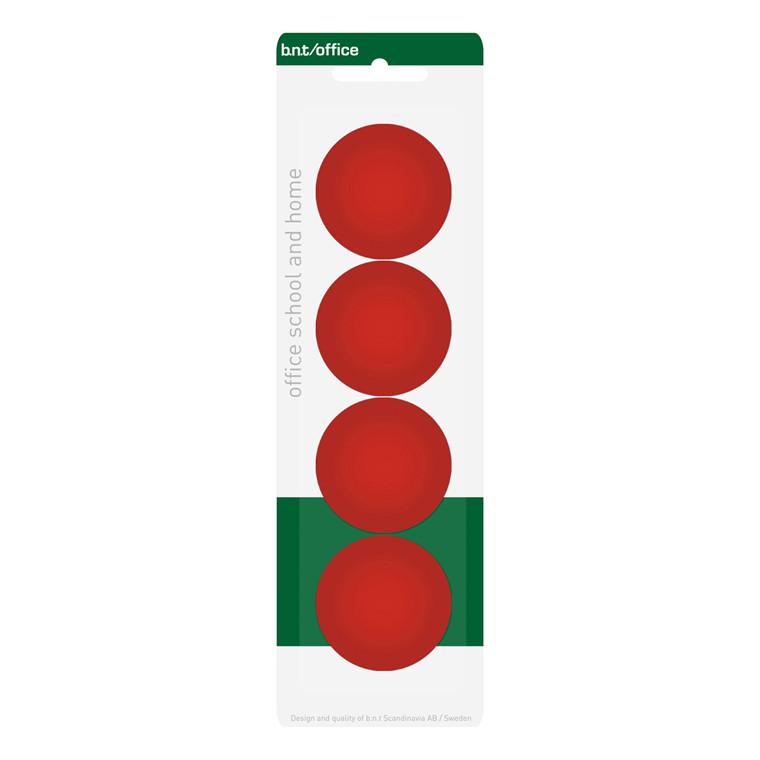 Stor opslagstavle magnet - BNT rød rund Ø 4 cm - 4 stk.