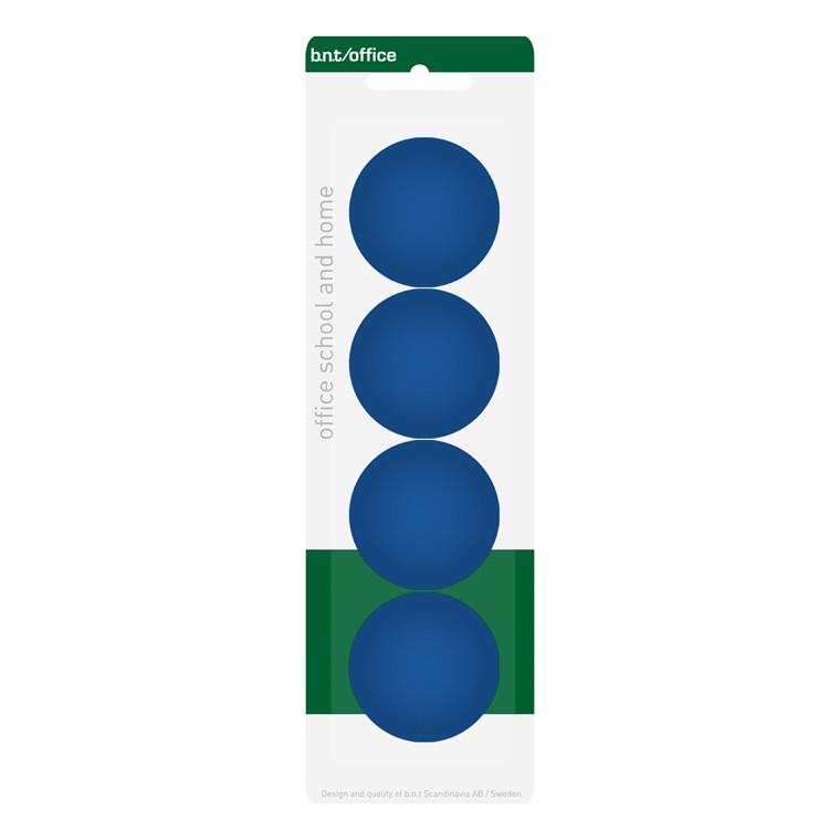 Store køleskabsmagneter - BNT blå runde Ø 4 cm - 4 stk.