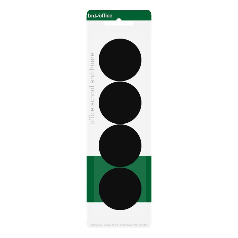 Store Magneter - BNT sort rund Ø 4 cm - 4 stk.