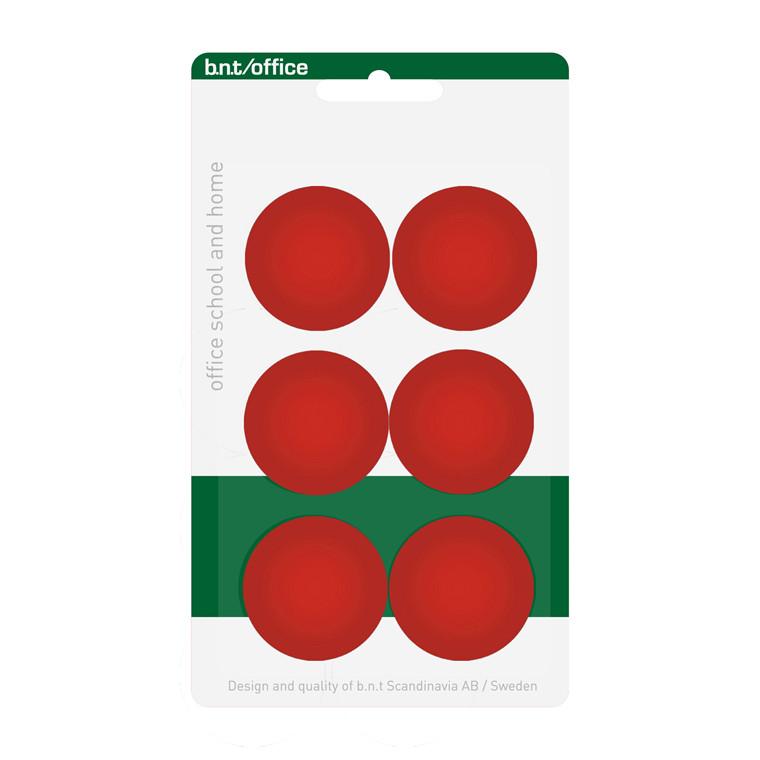 Store runde Magneter - BNT rød Ø 3 cm - 6 stk.