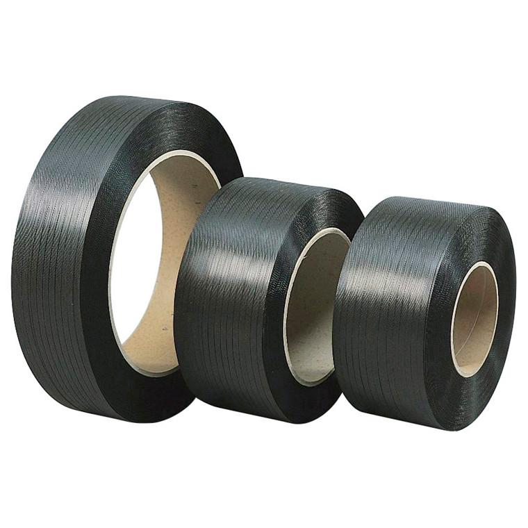 Strapbånd PP 12 x 0,55 mm Ø 200 mm - 3000 meter sort 118 kg træk