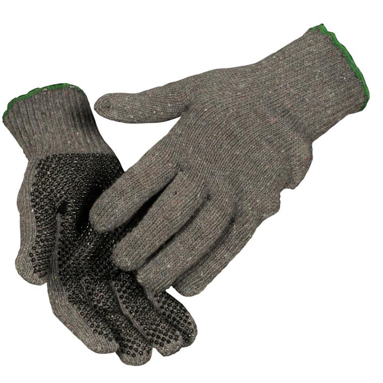 Strikhandske, grå/sort, med sorte dotter, lycra elastik, bomuld og polyester, 10,