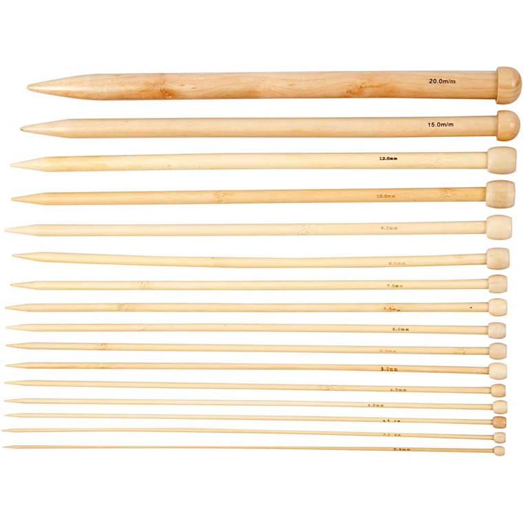 Strikkepinde længde 35 cm nr. 2,5-20 | 16 par
