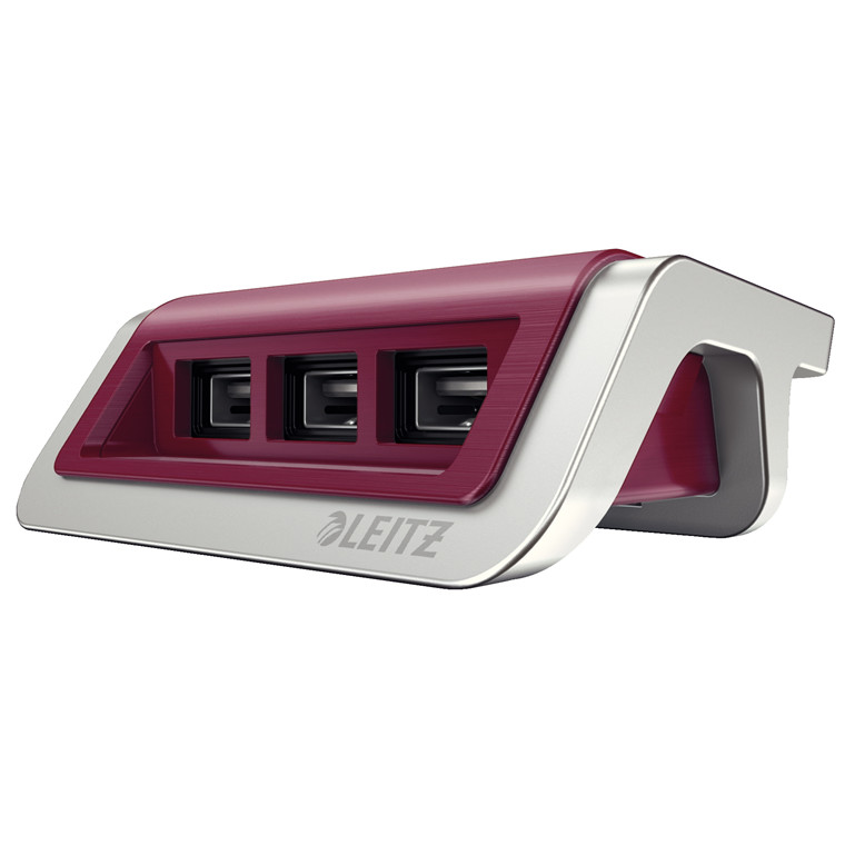 Strømoplader Leitz Style USB granat rød
