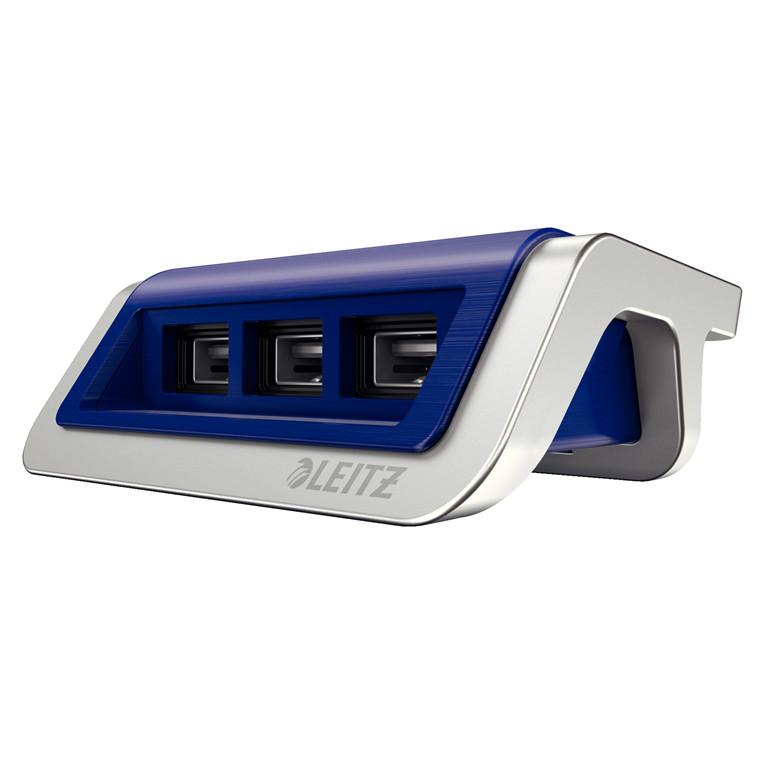 Strømoplader Leitz Style USB titan blå