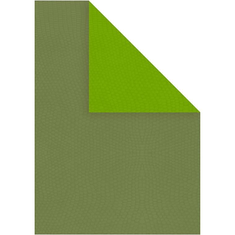 Strukturkarton A4 21 x 30 cm 250 gram lime/mørk grøn - 10 ark