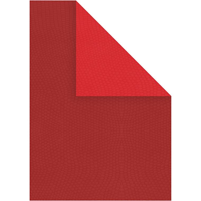 Strukturkarton, A4 21x30 cm, 250 g, vinrød/rød, 10ark