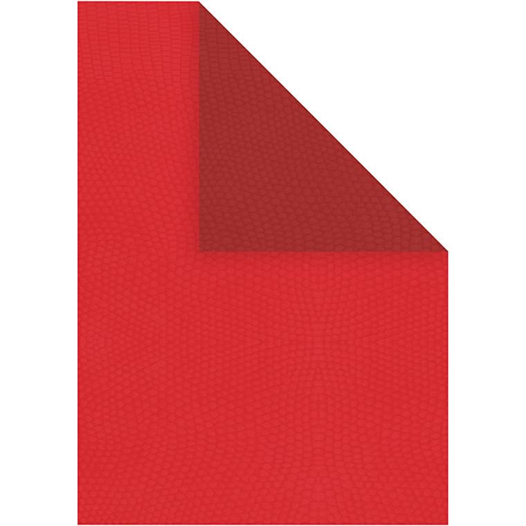 Strukturpapir, A4 21x30 cm, 100 g, rød/vinrød, 20ark