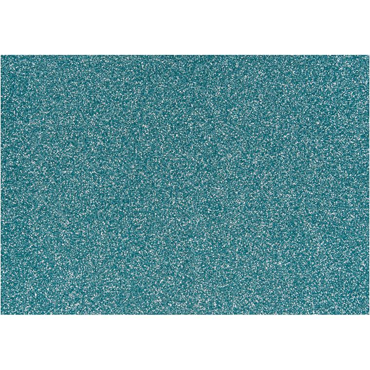 Strygestof, A5 14,8x21 cm, lys blå, glitter, 1ark
