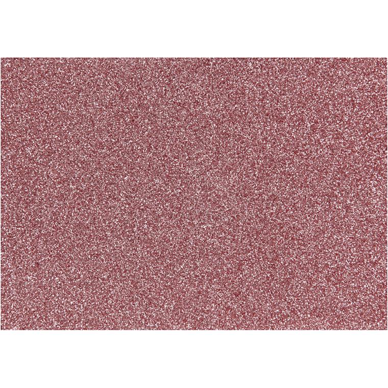 Strygestof, A5 14,8x21 cm, lys rød, glitter, 1ark