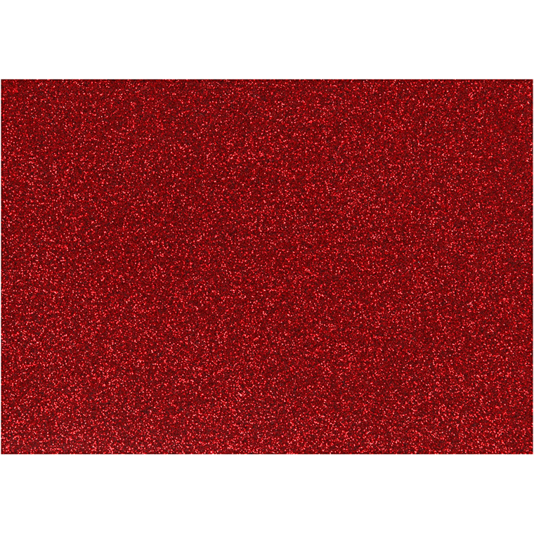 Strygestof, A5 14,8x21 cm, rød, glitter, 1ark