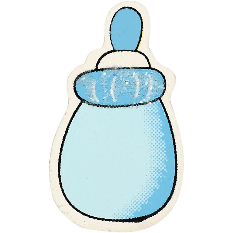 Sutteflaske, str. 22x37 mm, tykkelse 1,7 mm, lys blå, glitter, 10stk.