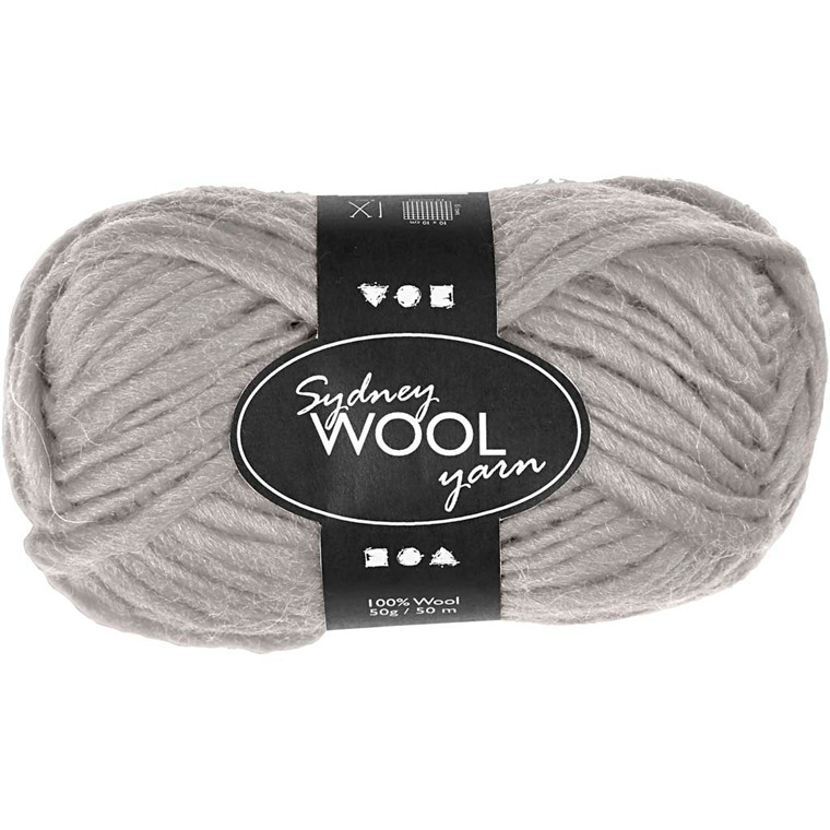 Sydney uldgarn, L: 50 m, lys grå, 50g