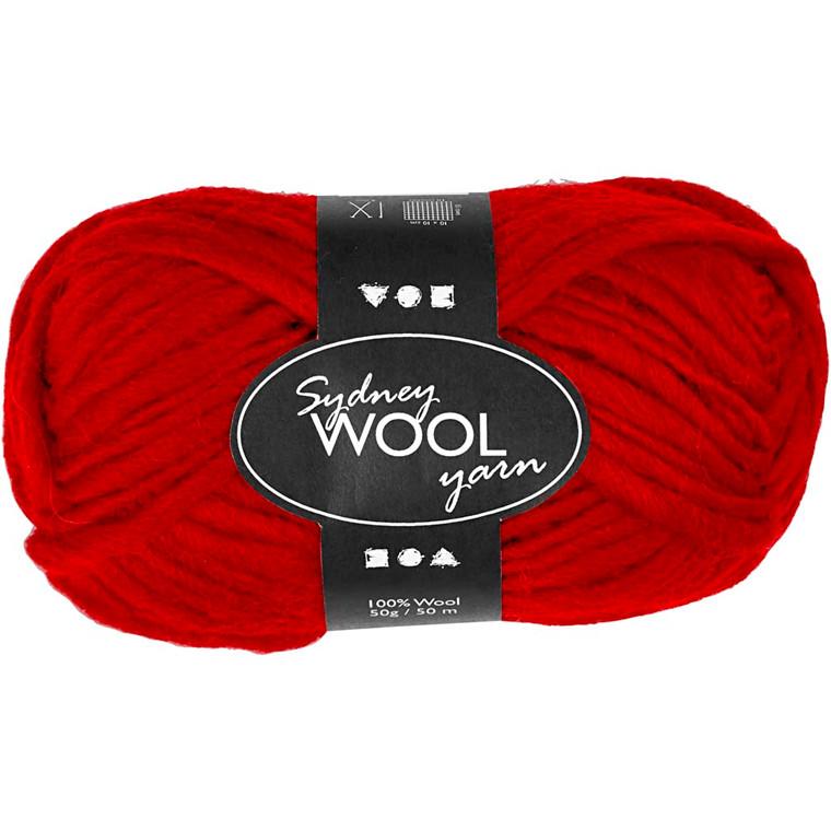 Sydney uldgarn længde 50 meter rød - 50 gram
