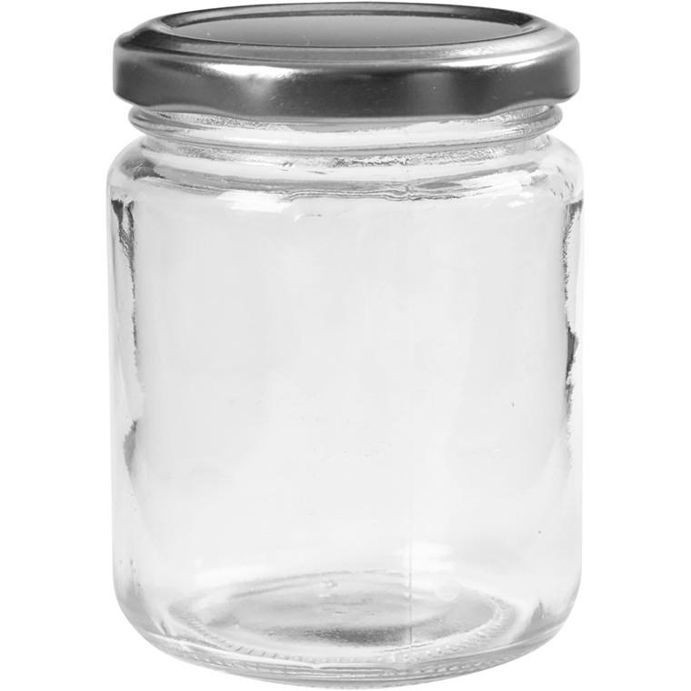 Syltetøjsglas med låg 240 ml H: 9,1 cm Ø: 6,8 cm - 12 stk.