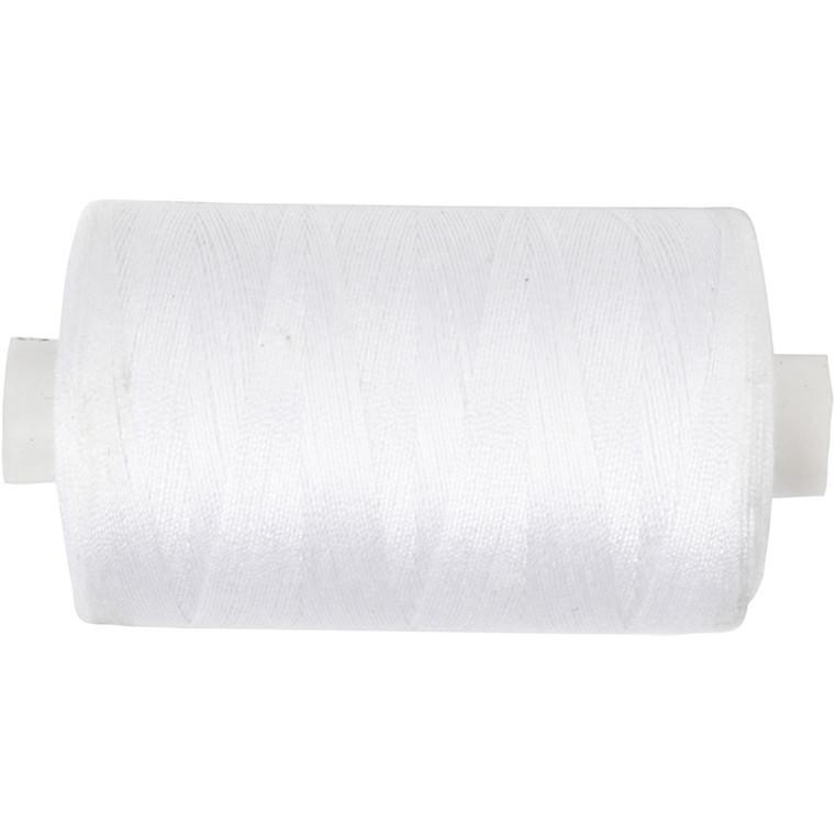 Sytråd, hvid, polyester, 1000 m