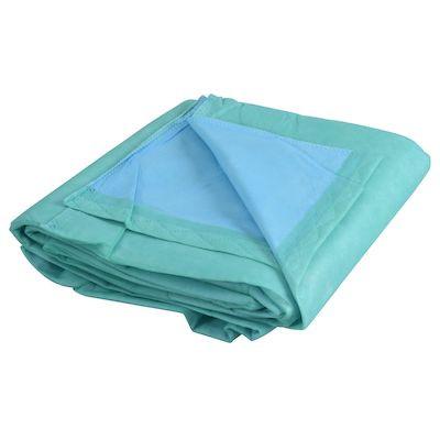 Tæppe, engangs, blå/grøn, 110x110