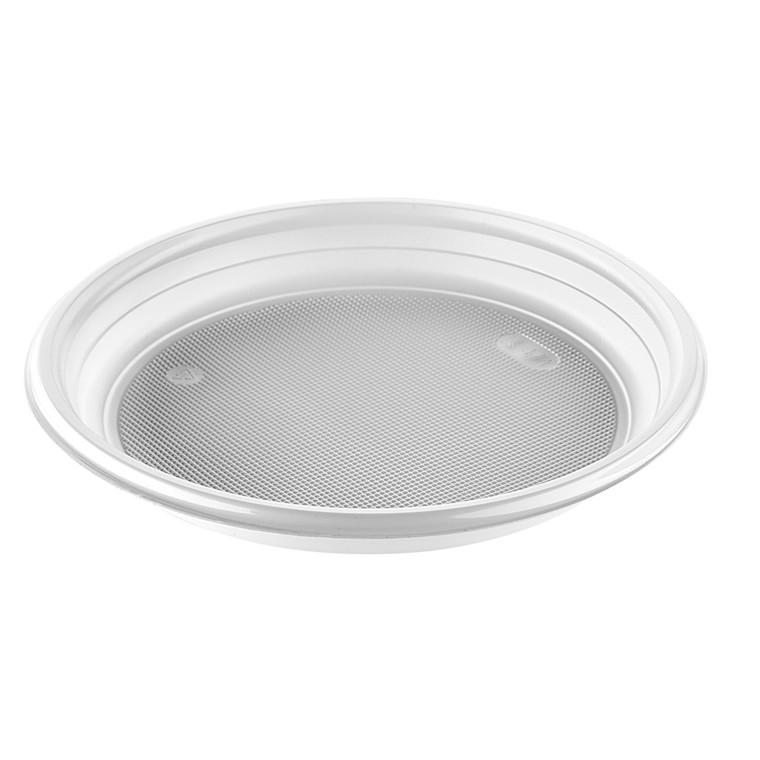 """Tallerken """"budget"""" 22 cm i diameter - hvid PP 12 gram - 100 stk. i pakken"""