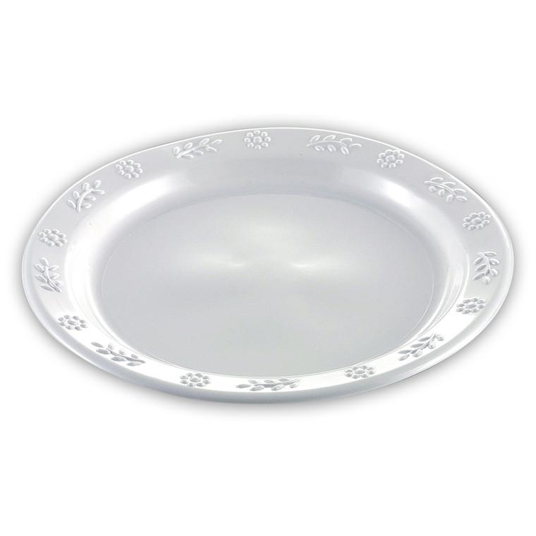 Rund Tallerken i hvid plast Ø: 23 cm - 50 stk