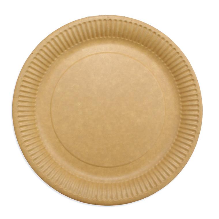 Miljøvenlige engangstallerkner frokost - pap 23cm brun - 50 stk