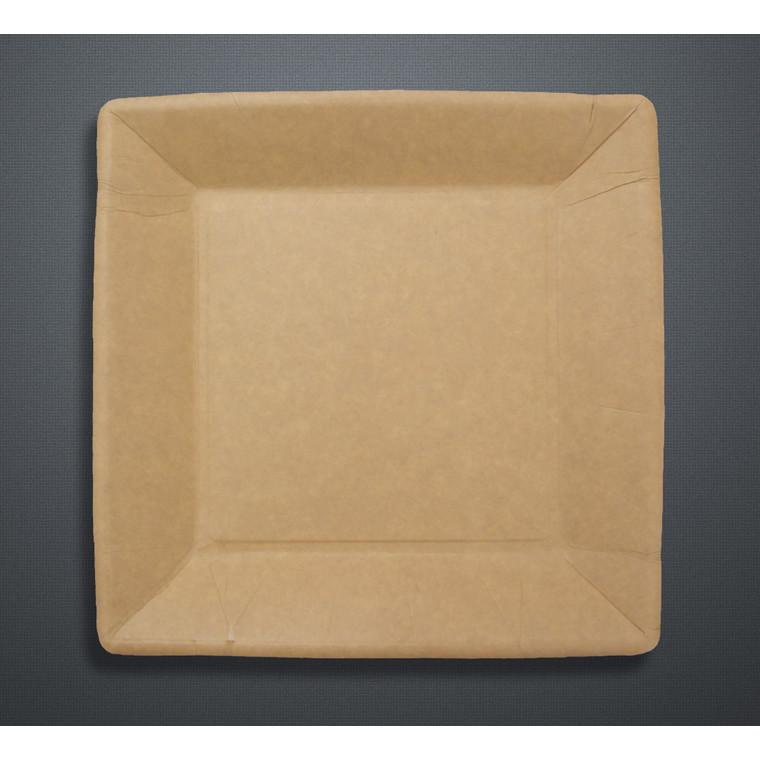 Miljøvenlige engangstallerkner frokost - pap 23 x 23 cm brun - 50 stk