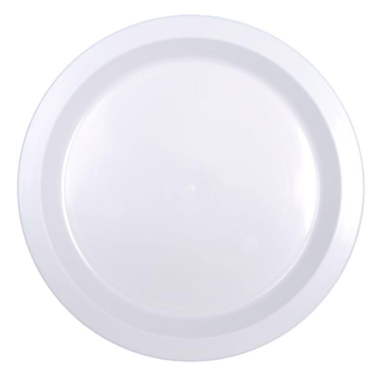 Tallerken rund flad plast hvid 24 cm i diameter - 25 stk. - exclusiv