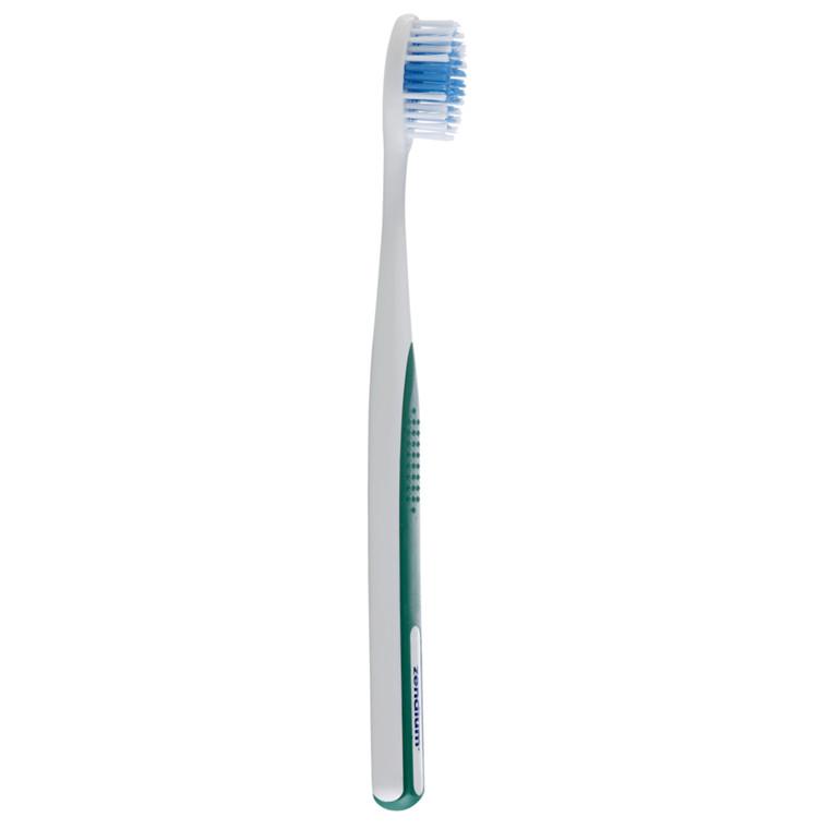 Tandbørste, Zendium, Activ V Shape Medium, gummibelagt skaft og V-formet børster,