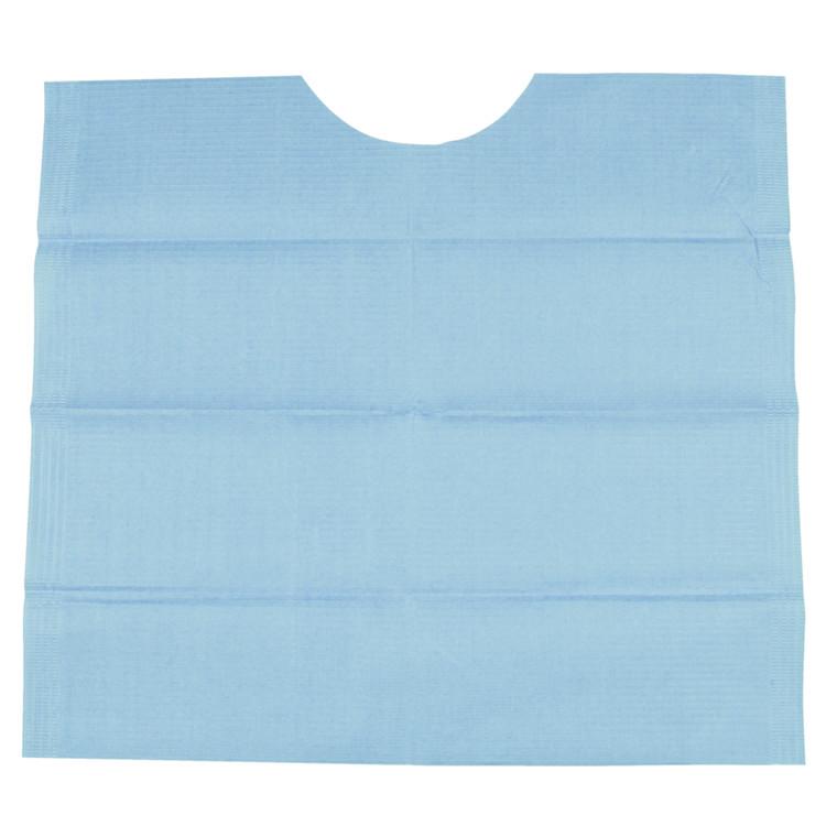 Tandlægeserviet, blå, protect ekstra, med halsudskæring, 3-lags, 41 cm x 45 cm
