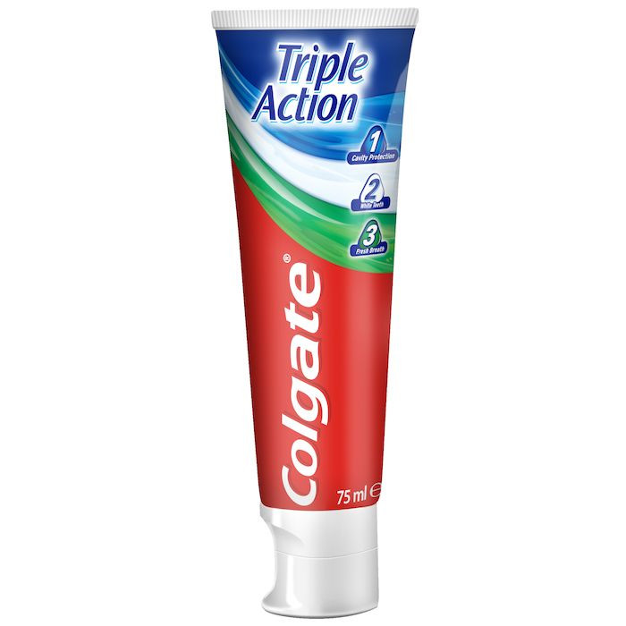 Tandpasta, Colgate Triple Action, ståtube, 75 ml