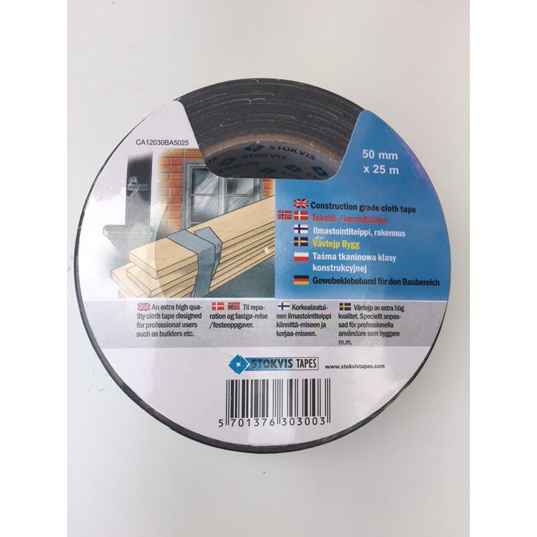 Tape EAN super lærred sort 48mmx25m