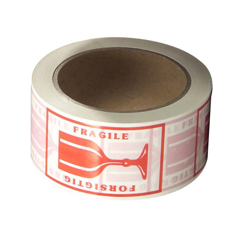 Tape PVC rød tryk 'forsigtig' - 48 mm x 66 m