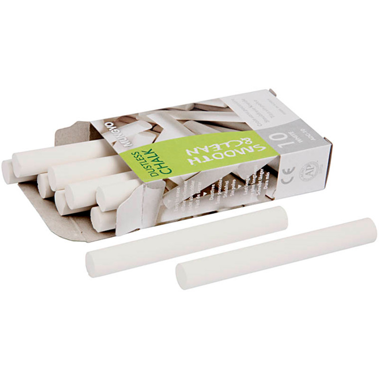 Tavlekridt, L: 8 cm, dia. 10 mm, hvid, 10x10stk.