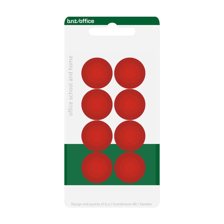 Whiteboard magneter BNT - rød Ø 2 cm - 8 stk.