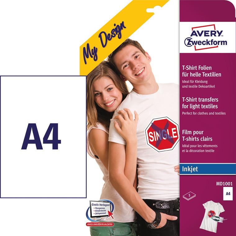 Avery MD1001 - T-shirt transfer A4 inkjet til lyse tekstiler - 5 ark