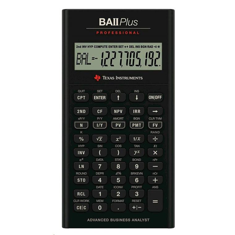 Texas Instruments Texas BAII Plus Pro financial calculator uk manual