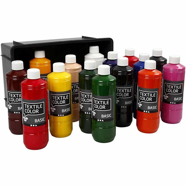 Textile Color - sortiment, ass. farver, basisfarver, 15x500ml