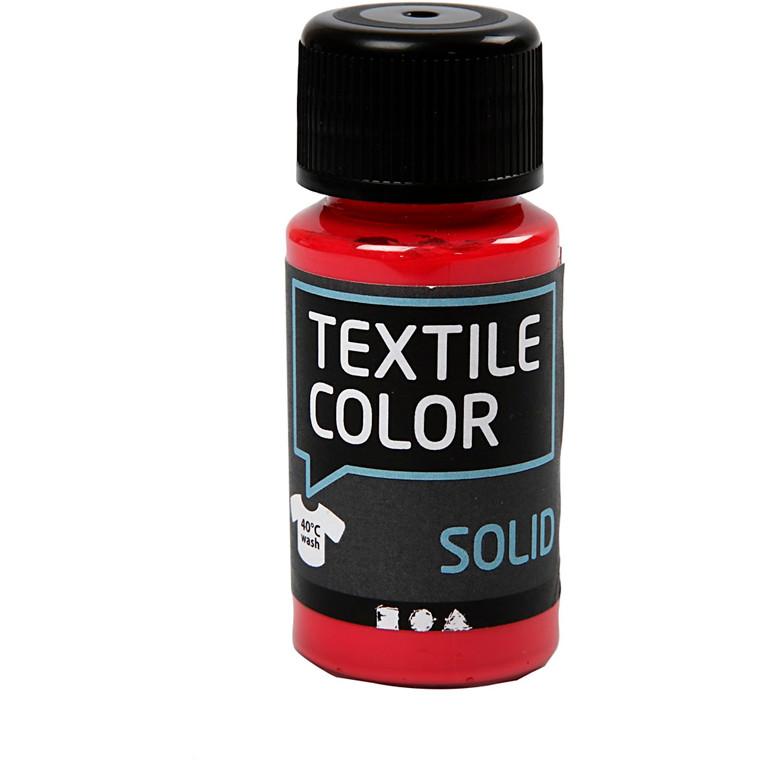 Textile Solid, rød, dækkende, 50ml