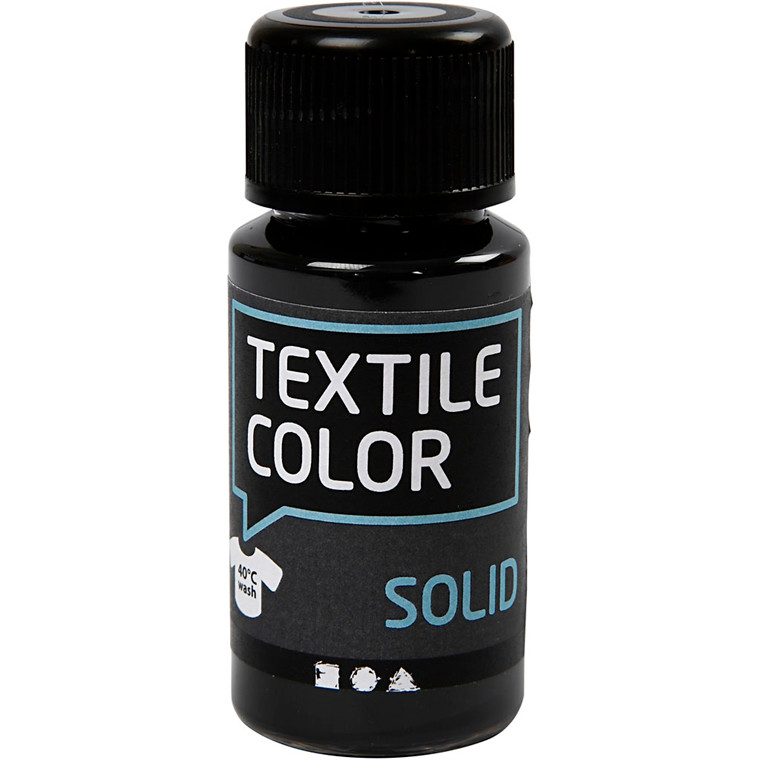Textile Solid, sort, dækkende, 50ml