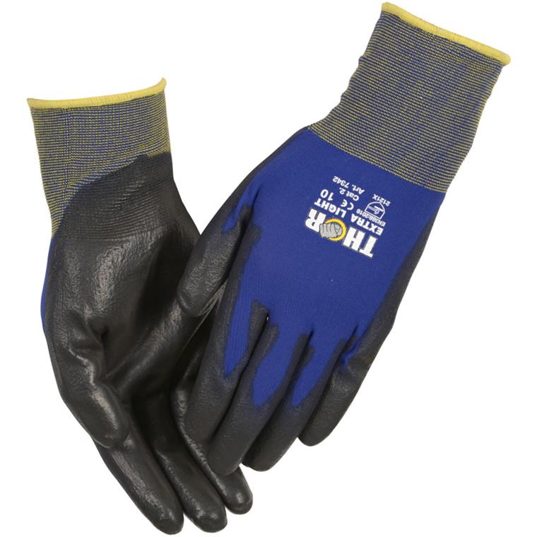 THOR Extra Light - Blå Halvdyppet PU handske ekstra tynd - Størrelse 10