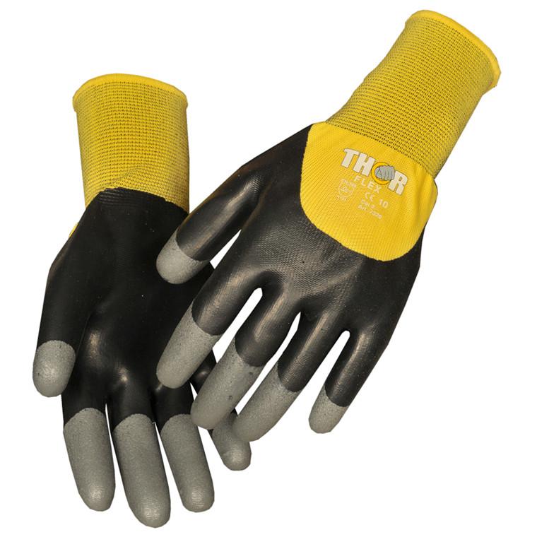 THOR Flex Dry - Halvdyppet latexhandske med nitril granulat på fingerspidserne - Størrelse 10