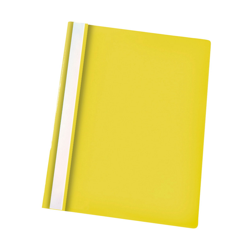 Centra A4 tilbudsmappe med split og overligger - gul med klar forside