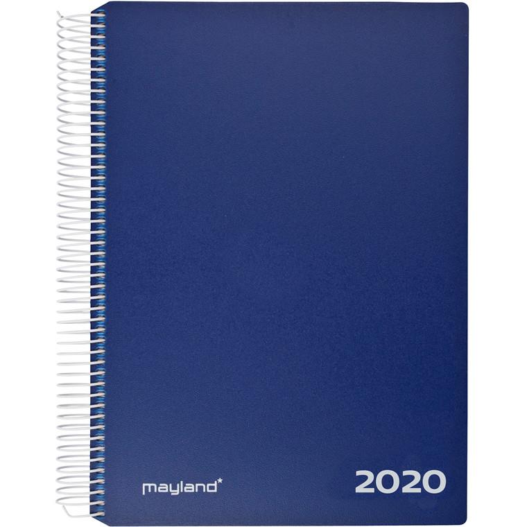 Timekalender Mayland 2020 hård PP blå 17 x 23,5 cm 1 dag/side - 20 2180 20