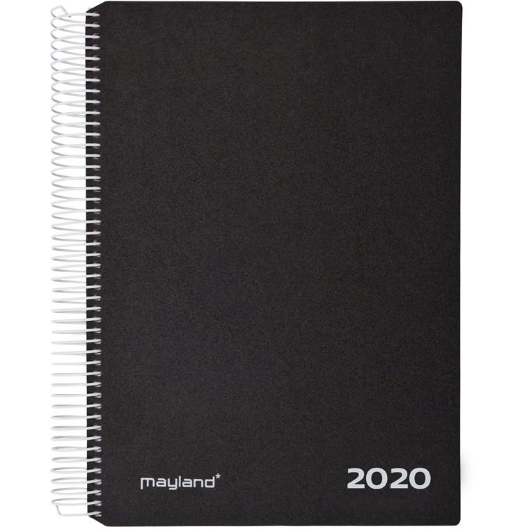 Timekalender Mayland 2020 hård PP sort 17 x 23,5 cm 1 dag/side - 20 2180 00